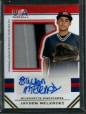 2017 Stars and Stripes USA BB Jumbo Swatch Silhouettes Signatures Jerseys Prime #174 Jayden Melendez NM-MT MEM Auto 04/2