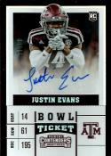 2017 Contenders Draft Picks College Ticket Autographs Bowl Tickets #252 Justin Evans NM-MT Auto 71/99