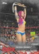 2017 Topps Women's Division Matches and Moments WWE Silver #WWE-1 Sasha Banks Defeats Charlotte for the Raw Women's Cham
