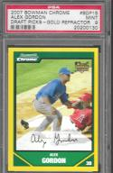 2007 Bowman Draft Chrome Refractors Gold #BDP15 Alex Gordon PSA 9 MINT 14/50 Royals