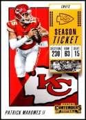 2018 Panini Contenders Season Tickets #51 Patrick Mahomes II NM-MT Kansas City Chiefs  Official NFL Football Card