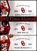 2011 Upper Deck University of Oklahoma All-Time Alumni Trios #ATAT-PSM Adrian Peterson/Billy Sims/Tommy McDonald Oklahoma Sooners